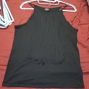 Zara Trafaluc Basic Black fringe tank top Medium